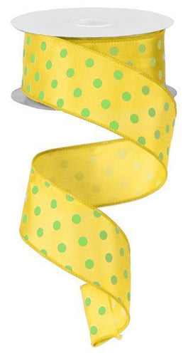 1.5 x 100 ft Yellow and Lime Polka Dot Wired Ribbon