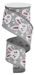 "2.5""X10YD BUNNY FACES W/GLITTER ON ROYAL"
