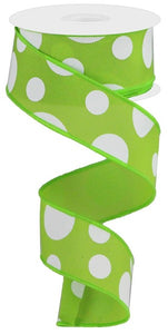 "1.5""X10yd Lime Green Giant Three Size Dot/Pg"