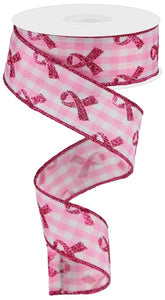 "1.5""X10yd Glitter Breast Cancer/Gingham"
