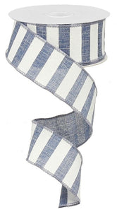 "1.5""X10yd Blue Denim/White Horizontal Stripe"