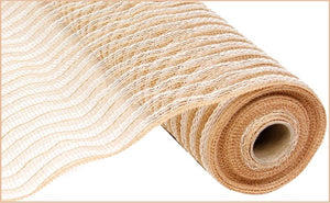 "21""X10yd Poly/Jute/Cotton Mesh- Natural/White"