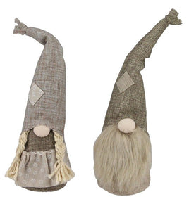 "14.5""H Burlap Gnomes Boy and Girl Set"