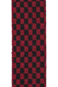 D. Stevens- 2.5 x 10yds. Faux Wool Check, Red and black