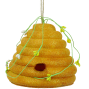 "6""W X 5""H HALF BEE HIVE ORNAMENT"