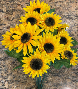 17 IN SATIN SUNFLOWER BUSH X 14