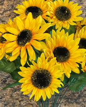 Load image into Gallery viewer, 17 IN SATIN SUNFLOWER BUSH X 14