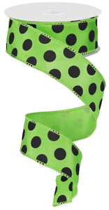 "1.5""X10yd Large Polka Dot-Black/Lime Green"