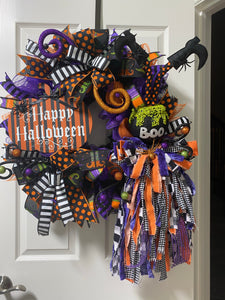 YouTube Halloween Deco mesh Evergreen Wreath Kit