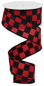 "1.5""X10yd Glitter Check-Red/Black Glitter"