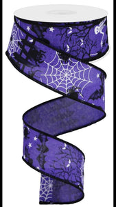 "1.5""X10yd Halloween On Royal-Purple with Skeleltons"