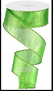 "1.5""X10yd Metallic Green Ribbon"