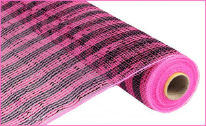"21"" x 10yd Deluxe Poly Deco Mesh-Pink/Black"