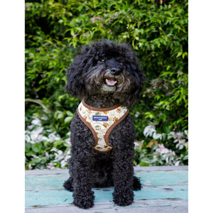 Pet Harness Embroidered - Paw Print Cream