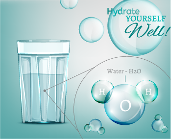 glass of water and h20 molecule with text hydrate yourself well