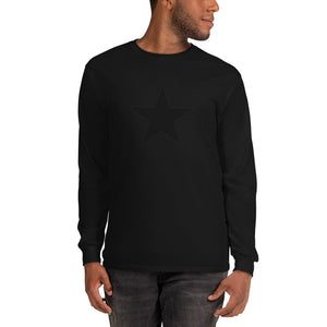 Black on Black Star Long Sleeve T-Shirt