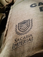 Sacaria Imperial bags, before, in burlap.