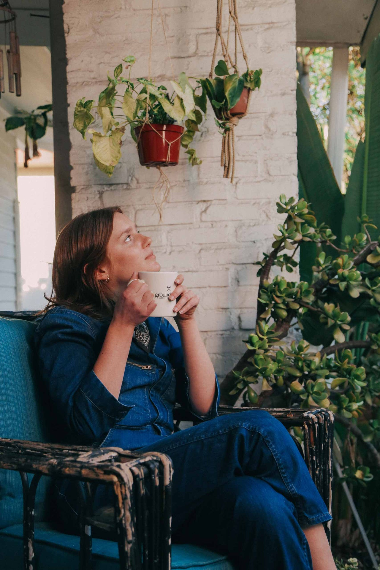 person drinking coffee while sitting in chair and gazing at hanging plants