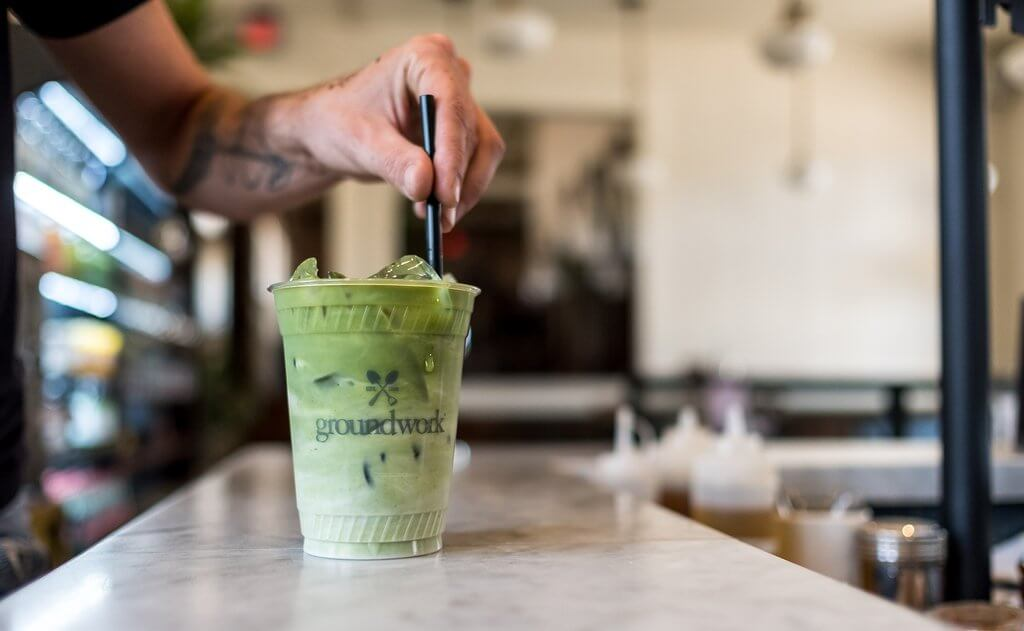 Groundwork iced matcha latte on counter