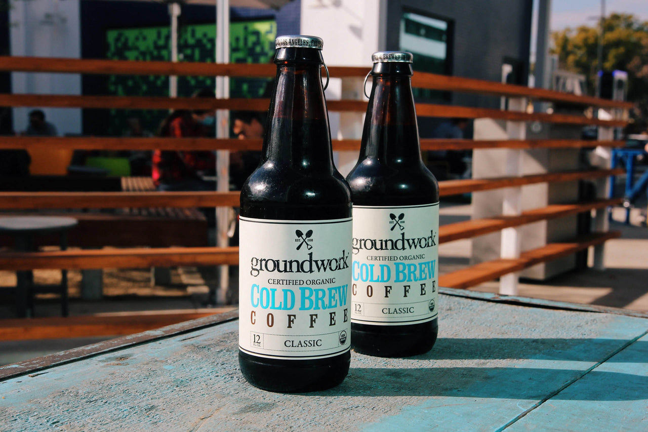 two bottles of Groundwork Cold brew on deck