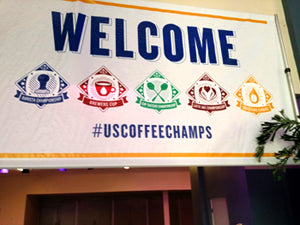 The U.S. Coffee Championships welcome banner.