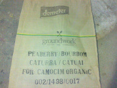 The jute bag for our Fazenda Camocim Organic Brazil coffee