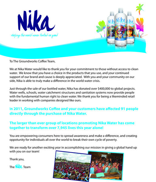 Nika Water and Groundwork Coffee