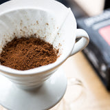 Hario V60 pour over brewing instructions with groundwork coffee