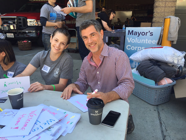 Groundwork Coffee Co.'s partner, Eddy Cola, volunteering with the Los Angeles Mayor's office.