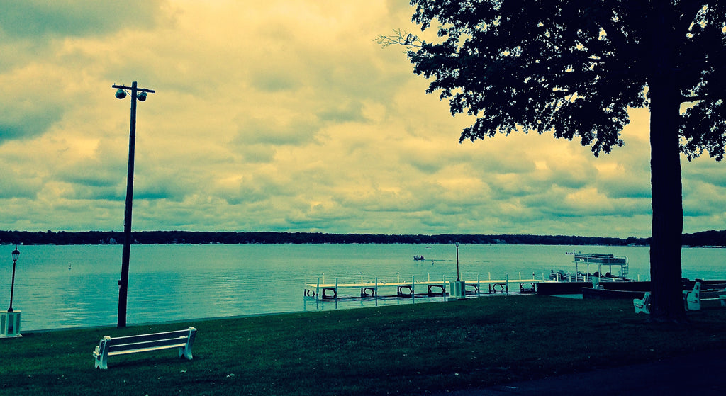 Water and pier in Delaven, WI.