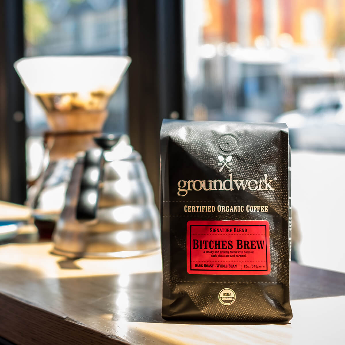 bag of groundwork's Bitches Brew coffee on shop counter