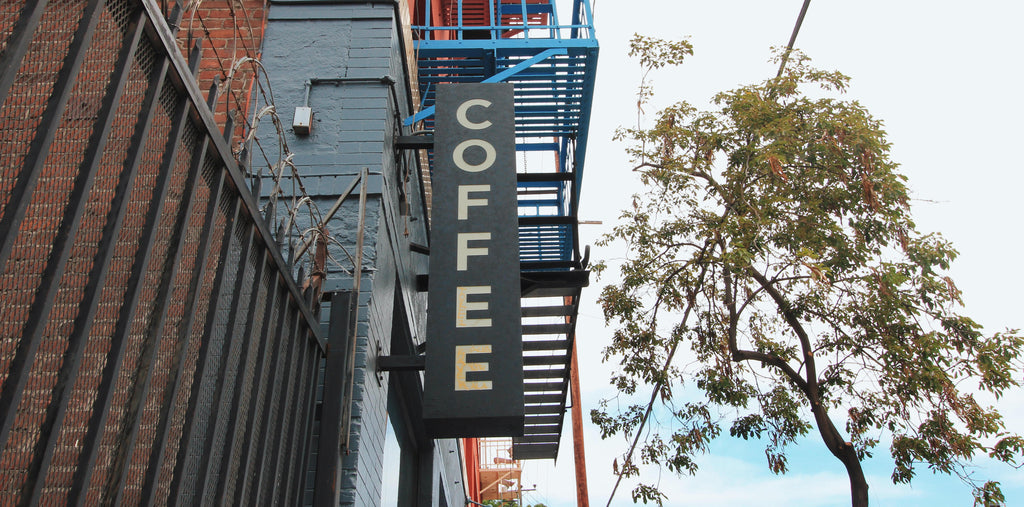 Coffee sign at Groundwork Arts District in Downtown Los Angeles