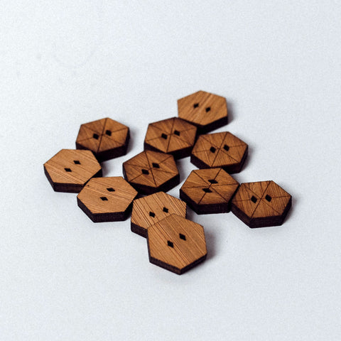 Arrow Mountain Bamboo Button - Hexie 12mm x 15mm