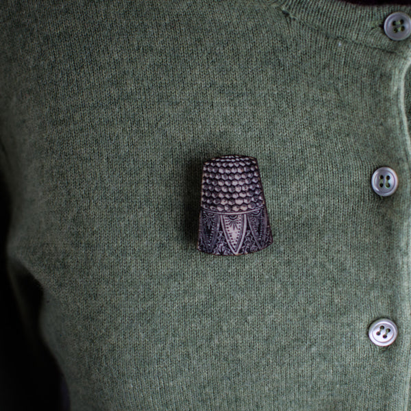 Wooden Thimble Brooch