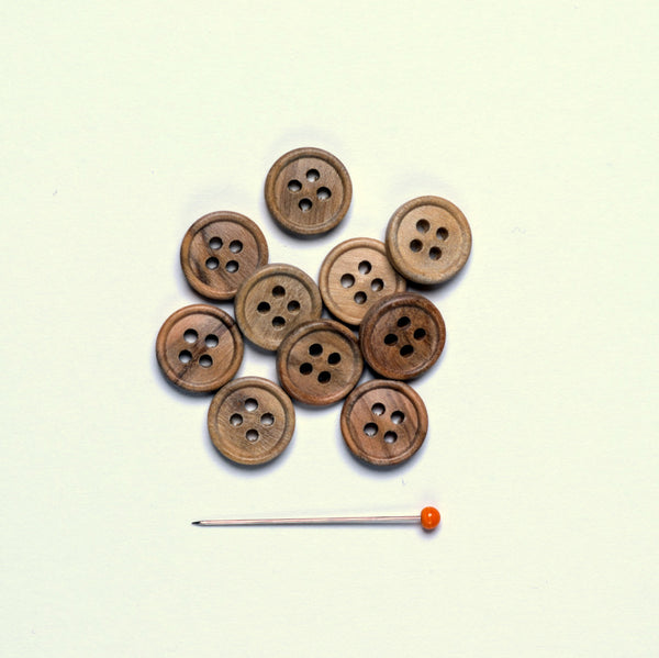 Olive Wood Button - natural olive 4 hole 11 mm, pack 10