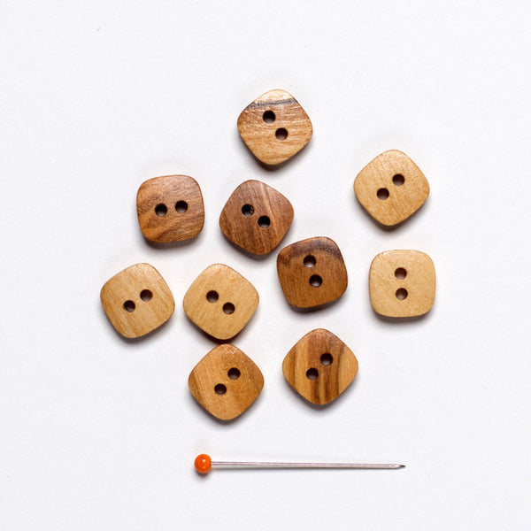 Olive Wood Button - natural square 2 hole 11 mm - pack of 10