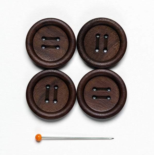 Olive Wood Button - dark chocolate 4 hole 20 mm, pack of 4