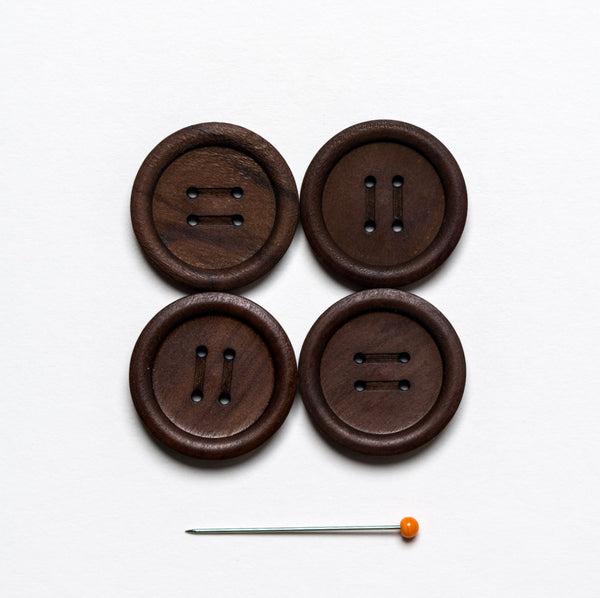 Olive Wood Button - dark chocolate 4 hole 23 mm, pack of 4