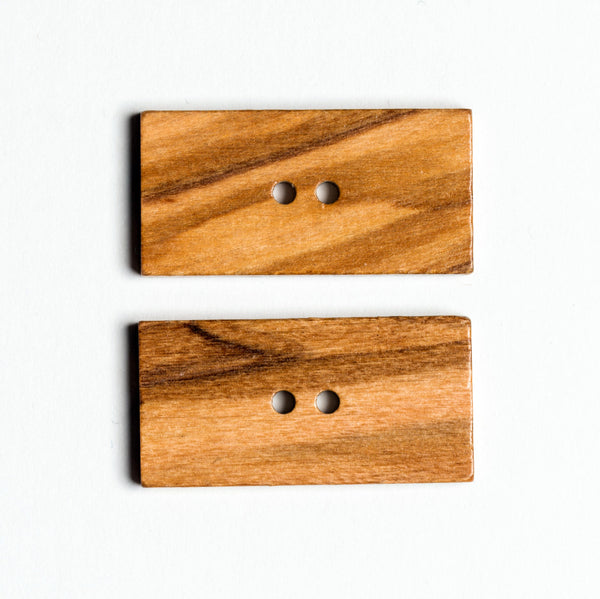 Olive Button - natural rectangle 2 hole 40 x 20 mm - pack 2