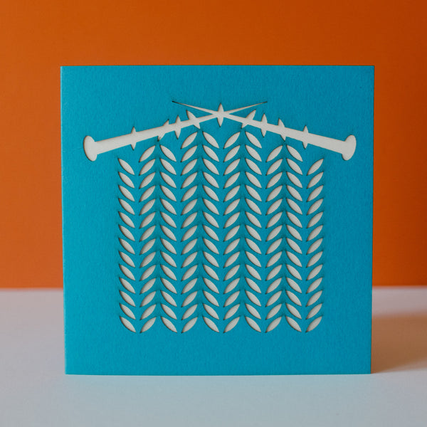 Laser Cut Greetings Cards - Knitting