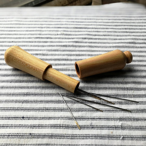 Long turned wooden needle case - cherry
