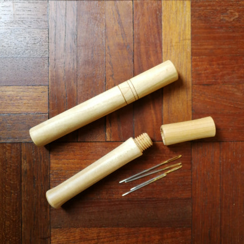 Wooden Needle Case with screw lid