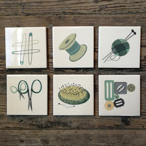Illustrated tiles by Alison Milner