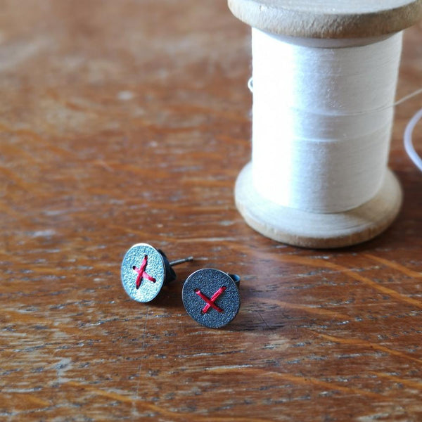Sewn Up Earrings - Medium Round Cross
