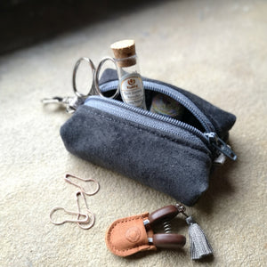 Zippered Leather Notions Pouch - Wide