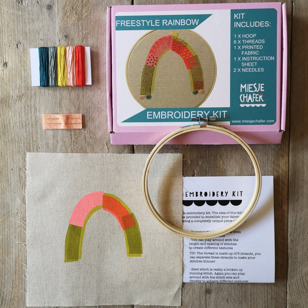 Miesje Chafer Embroidery Kit - small rainbow
