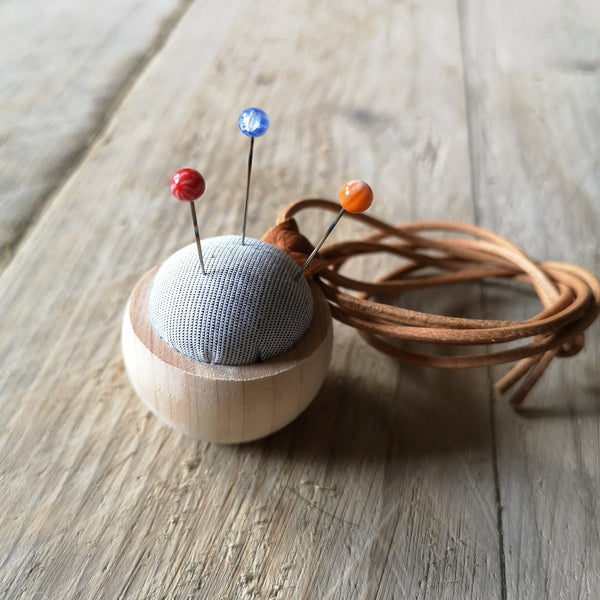 Cohana Wooden Pincushion with Glass Bead Marking Pins