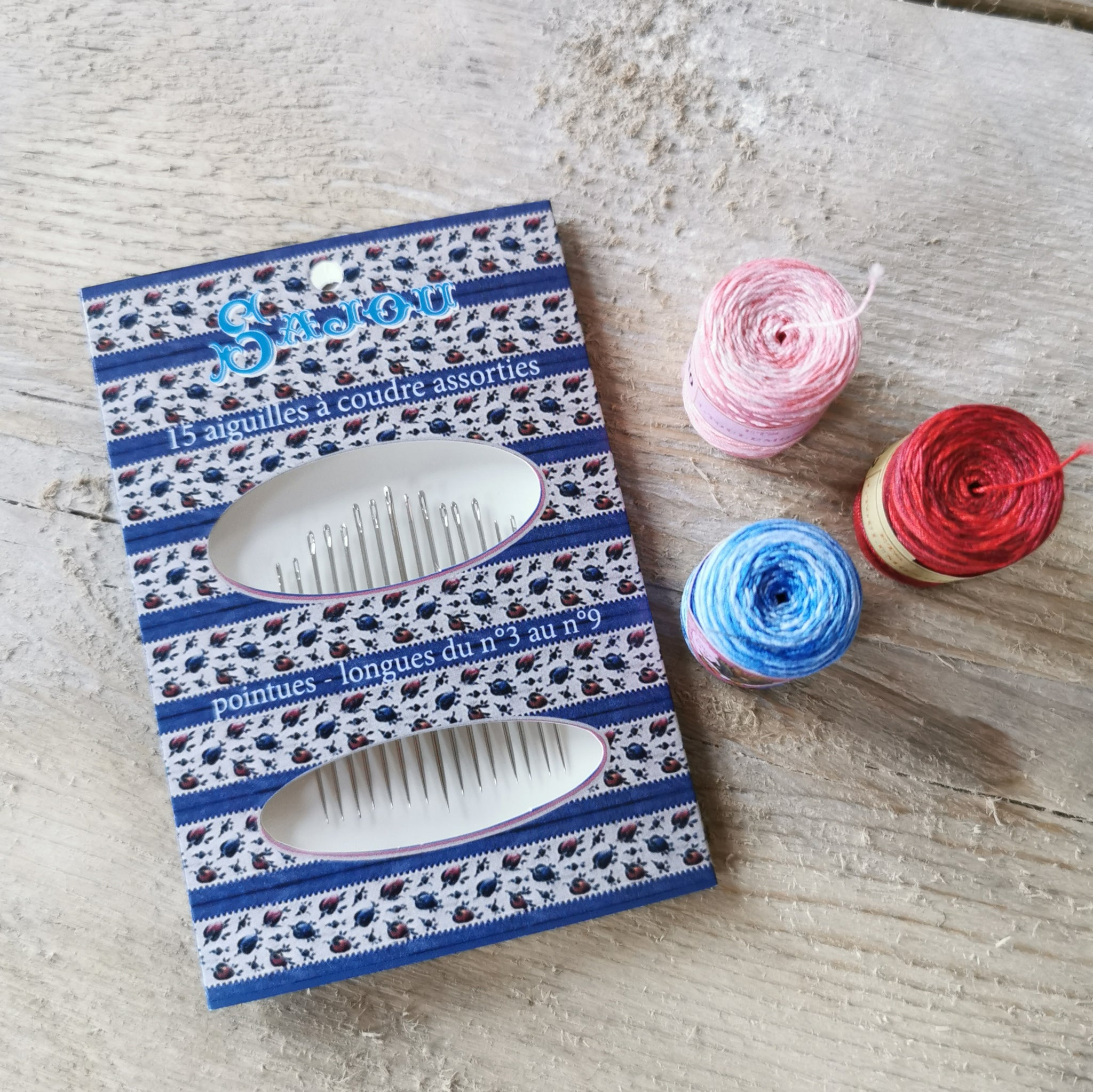 Sajou Sewing Needles - blue floral pack