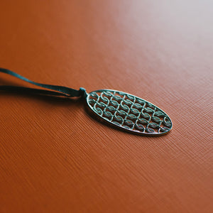 Silver Stitches Oval Pendant