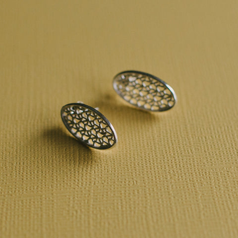 Silver Stitches Small Oval Ear Stud